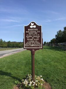 Plaque commemorating Woodstock festival site's being placed on the National Register of Historic Places.